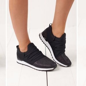 TOP Moda black & sparkly sneakers